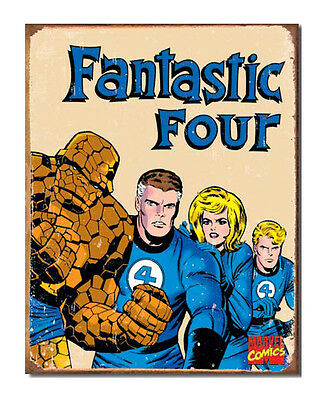 Marvel Comics A3 Retro Tin Metal Sign FANTASTIC FOUR 41x32cm Aged look Licensed