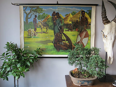 Vintage Pull Roll Down School Wall Chart Poster Of An African Tribe And Village