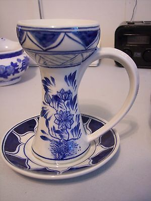 """5 1/2"""" High Candle Holders Tapers Blue & White Asian Chinese Saucer Handled"""