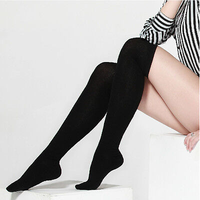 Fashion Womens Long Cotton Socks Thigh High Over The Knee Thinner Stockings OK
