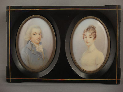 "Louis-Marie Sicardi (1746-1825) ""Miniature Portraits Baron and Baroness"""