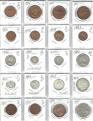 AUSTRALIA Lot of 20 Different Coins - 5 Silver Coins - Nice Australian Coin Lot