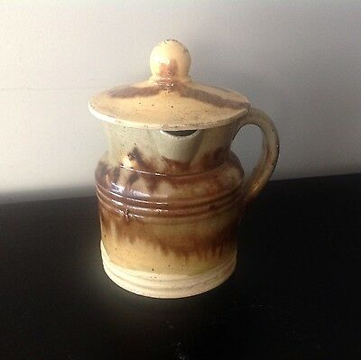 "19th C. French Provencal  ""Pot Suisse"" delicate milk pitcher with lid."