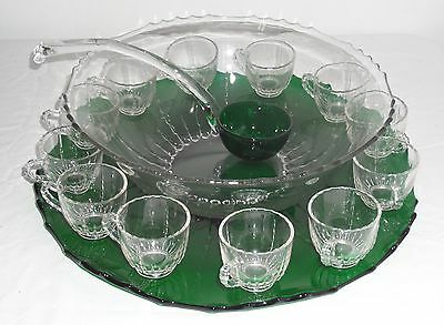 New Martinsville RADIANCE CRYSTAL/EMERALD *15pc PUNCH BOWL SET*