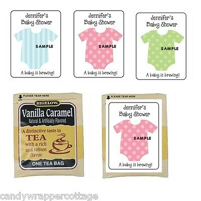 30 Cute Baby Onesie Shower Personalized Tea Bag Labels or Coffee Favors