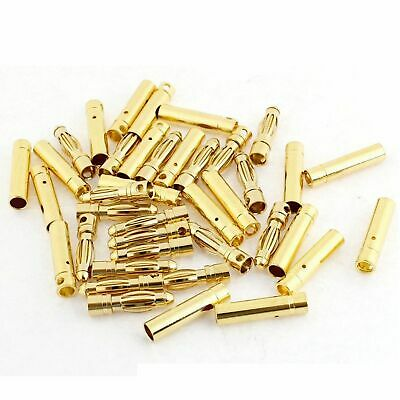 20 Pairs - (2mm) Gold Plated Bullet Connectors - Male and Female US Seller Stock