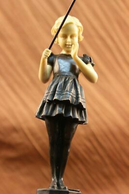 Museum Quality Girl go Fishing Vienna Bronze Sculpture Home Decor Figurine Gift