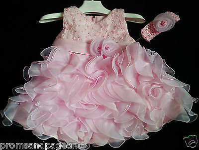 Pink Christening Wedding Flower Girl Pageant Prom Bridesmaid Party Dress 0-24m