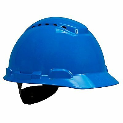 3M Hard Hat with UVicator, H-703V-UV, Vented, 4-Point Ratchet Suspension, Blue ,