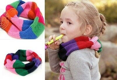 Girls' Infinite Winter Warmer Scarf Multi Rainbow Color Stripe