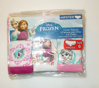 Disney Frozen  Girls' 3-Pack  Hipsters  Sizes 4   NIP