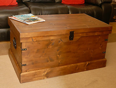 Wooden Chest Trunk Large Pine Ottoman Coffee Table Vintage Style Handmade