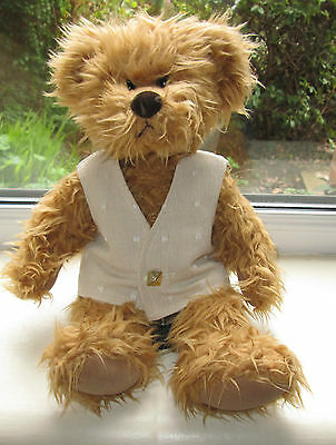 BN TEDDY CLOTHES, HANDMADE BEIGE LINED WAISTCOAT TO FIT A 13 TO 14  INCH BEAR