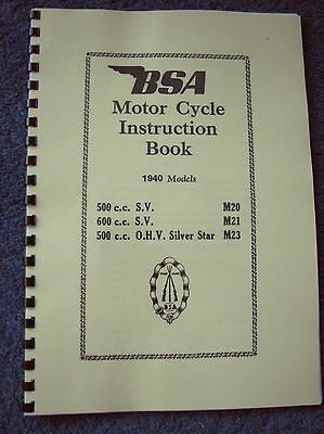 Bsa M20 M21 M23 Silver Star Civilian Models Instruction Manual 1940 Bh04