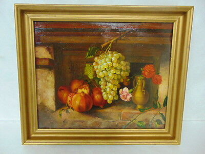 Amazing Antique Still Life Oil Painting On Copper W/ Grapes & Flowers