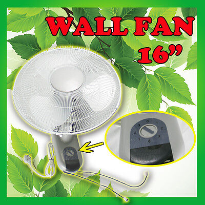 "2x 16"" Turbo Blade Oscillating Wall Mounted Fan with Pull Cord 3 speed control"