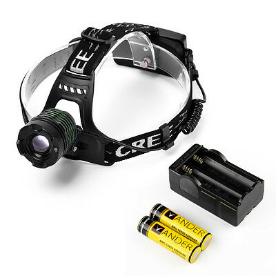 CREE XM-L T6 3 Modes Focus Headlight Head Light Lamp+ Free 18650 Battery & Charg