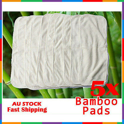5x BAMBOO WHITE COTTON LINER INSERTS BOOSTERS PADS CLOTH REUSABLE NAPPY/DIAPER