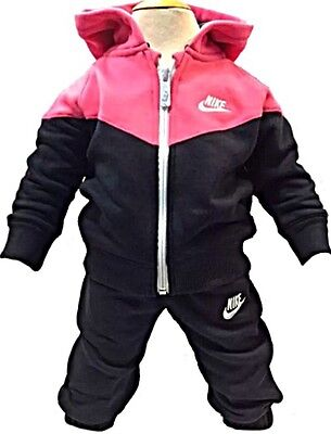 Nike Tracksuit Girls Kids Infants Babies Toddlers Childrens Black/Pink 3-36mths