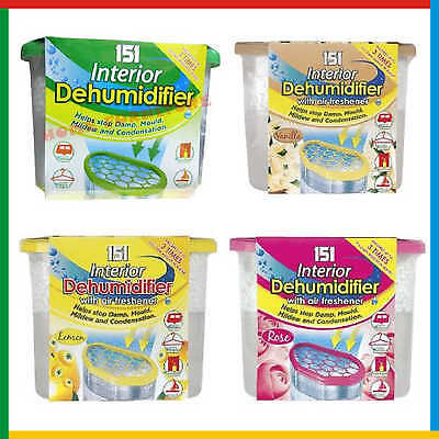 Scented DEHUMIDIFIERS Interior Damp Moisture Mould Mildew Remover - Lemon, Rose