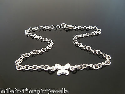 "Sterling Silver Bracelet Or Ankle Chain Anklet Butterfly Design 7"" 8"" 9"" 10"" 11"""