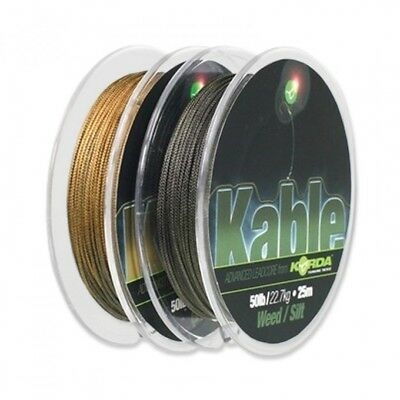 Korda Kable Leadcore Leader Weed/silt Or Gravel 25M 50Lb Carp Fishing Line New