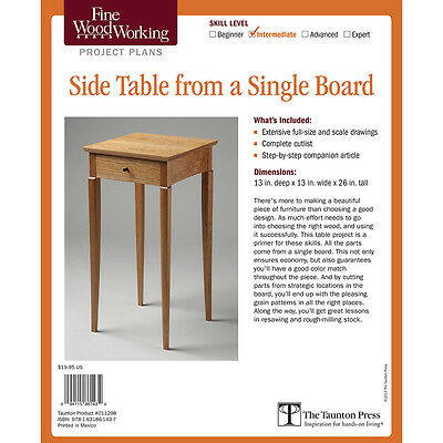 Side Table from a Single Board, Printed Plan