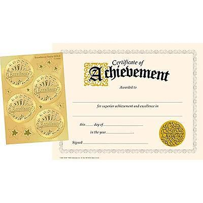 30 Certificates of Achievement & 32 Excellence Award Sticker Seals Combo Pack
