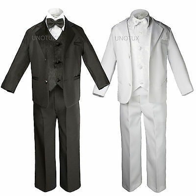 Baby Kid Teen Boys Black White Pick Paisley Wedding Formal Tuxedo Suits sz S-20