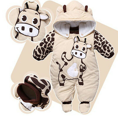 New Baby Toddler Winter Autum Romper Warm Outfits Hooded Coat Jumpsuit Playsuit