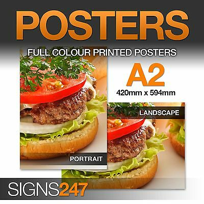 A2 Poster Printing - Full colour LAMINATED WATERPROOF POSTER - 50% OFF