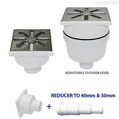 STAINLES STEEL SQUARE FLOOR WET ROOM SHOWER DRAIN VERTICAL OUTLET 50 40 32 mm