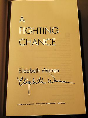 """Elizabeth Warren signed autograph """"A Fighting Chance"""" 1st Edition hardcover book"""