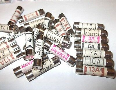 1A 2A 3A 5A 7A 10A 13A Domestic Household Fuse Plug Mains Cartridge Fuse