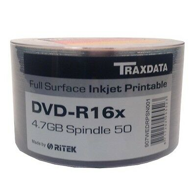TRAXDATA DVD-R 16x 4.7GB 50 DISCS SHRINK WRAPPED PACK FULL FACE INKJET PRINTABLE
