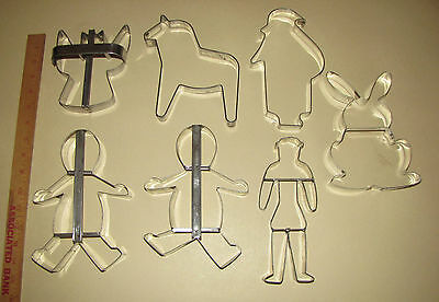 7 Large Cookie Cutters Metal Angel Santa Bunny Horse or Dog Christmas Holiday