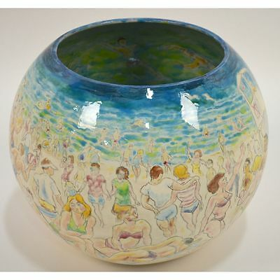Glazed Beach Scene Decorated Pot by Francis McCarthy, Signed 'McCarthy 99'