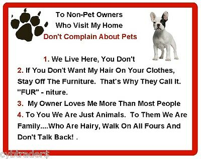 Funny Dog French Bulldog House Rules Refrigerator / Magnet Gift Card Insert