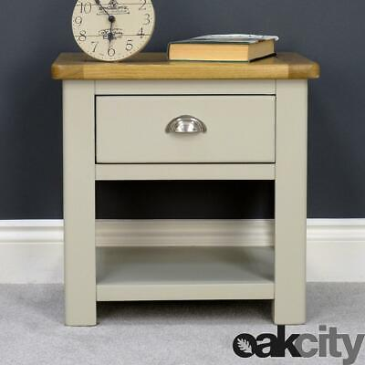 Aspen Oak Lamp Table / Painted Sage Grey Side Table With 1 Drawer / New