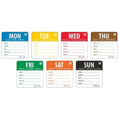 "Vogue Removable 2"" Labels Week Set Food Labels Food Preparation Stickers FullSet"