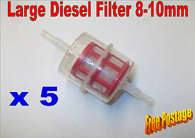 5 x LARGE IN-LINE DIESEL UNIVERSAL FUEL FILTER FITS 8-10mm MOTORBIKE AUTO