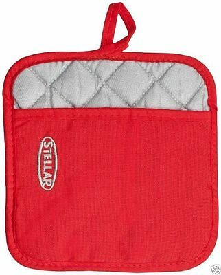 Stellar Red Cotton Heat Resistant Pot Mitt Holder Square STE01R