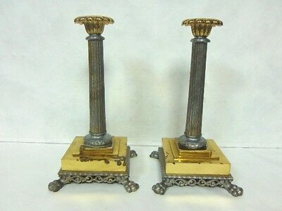 Pr Of Vintage Antique Reeded Column Lamp Bases Or Candlesticks W/ Paw Feet