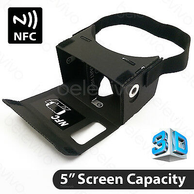 BLACK 3D Virtual Reality VR Cardboard Headset with NFC for Google Android iPhone
