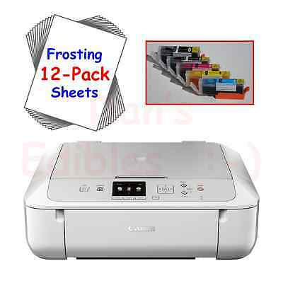Edible Printer Bundle with Ink, 12 Frosting Sheets, White Canon Wireless MG5720