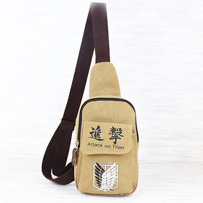 attack on titan khaki canvas Chest Bag Cycling bags shoulder bag new
