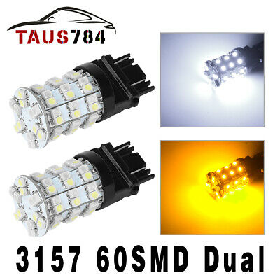 2X  3157 3528 60SMD Switchback Dual Color White/Amber DRL Signal LED Bulbs