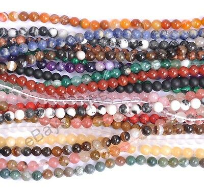 """16"""" Wholesale Natural Gemstone Round Spacer Loose Beads 4MM Pick Assorted"""