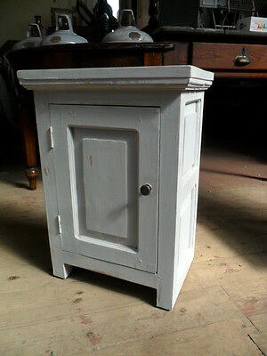 shabby chic antique style rustic painted paneled pot cupboard bedside cabinet c7