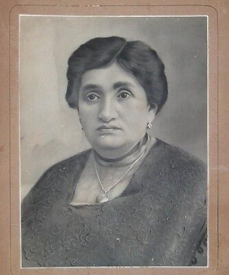 Rare Antique Large Real Picture Photo Jewish Rabbi 'S Wife Vtg Israel Judaica